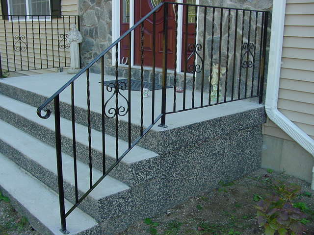 Prefabricated concrete steps with granite finish
