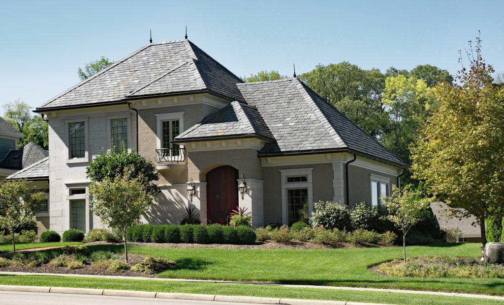 Stone & Stucco House with Slate Roof