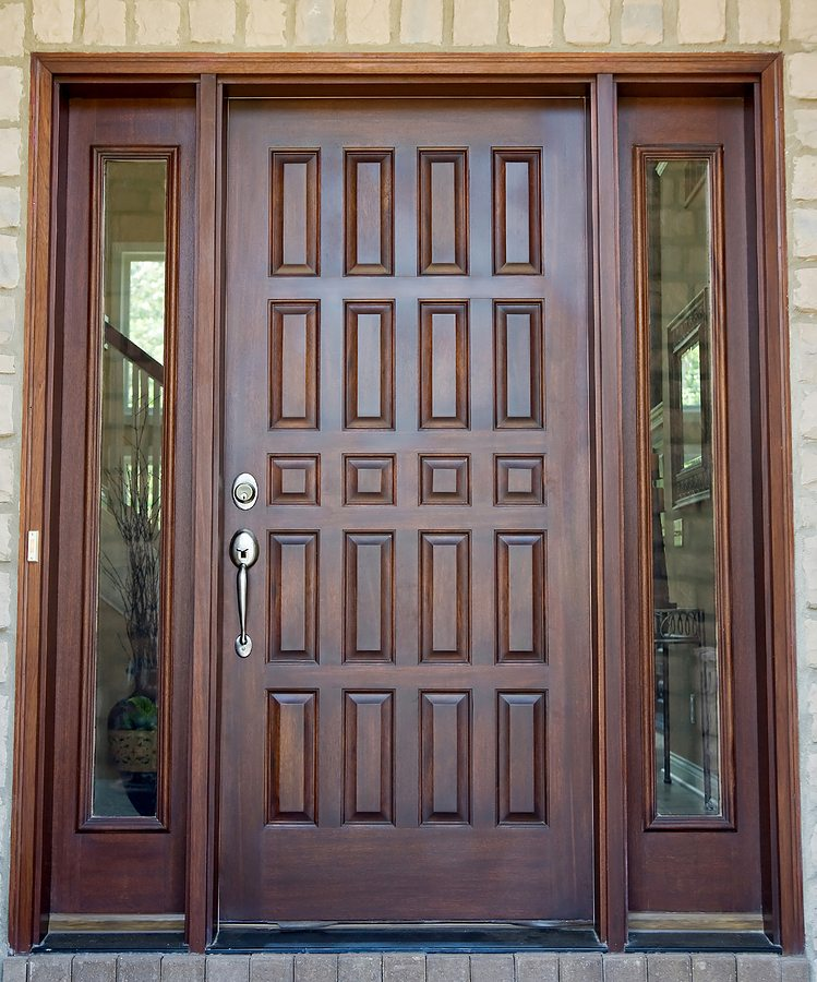Large Wooden Front Door of an Expensive Home