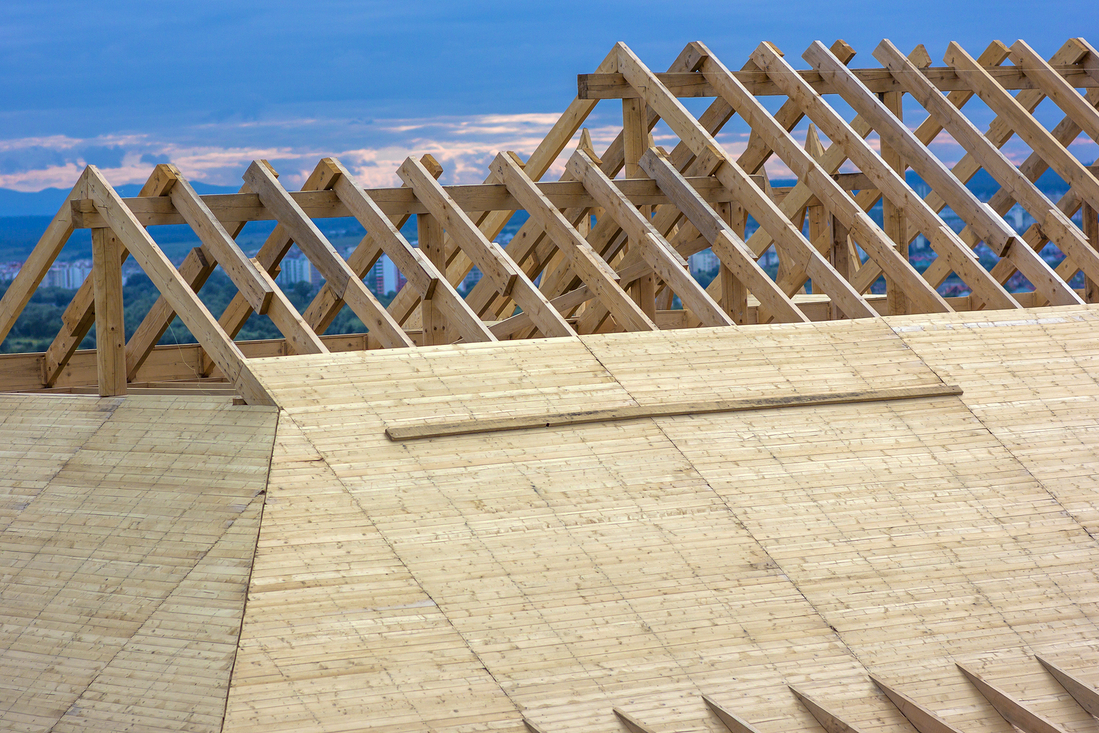 Roofing Construction. Wooden Roof Frame House Construction