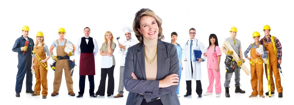 Group of professional workers business people. Isolated over white background.