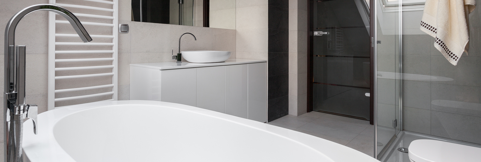 Close-up of bathtub in luxury modern bathroom