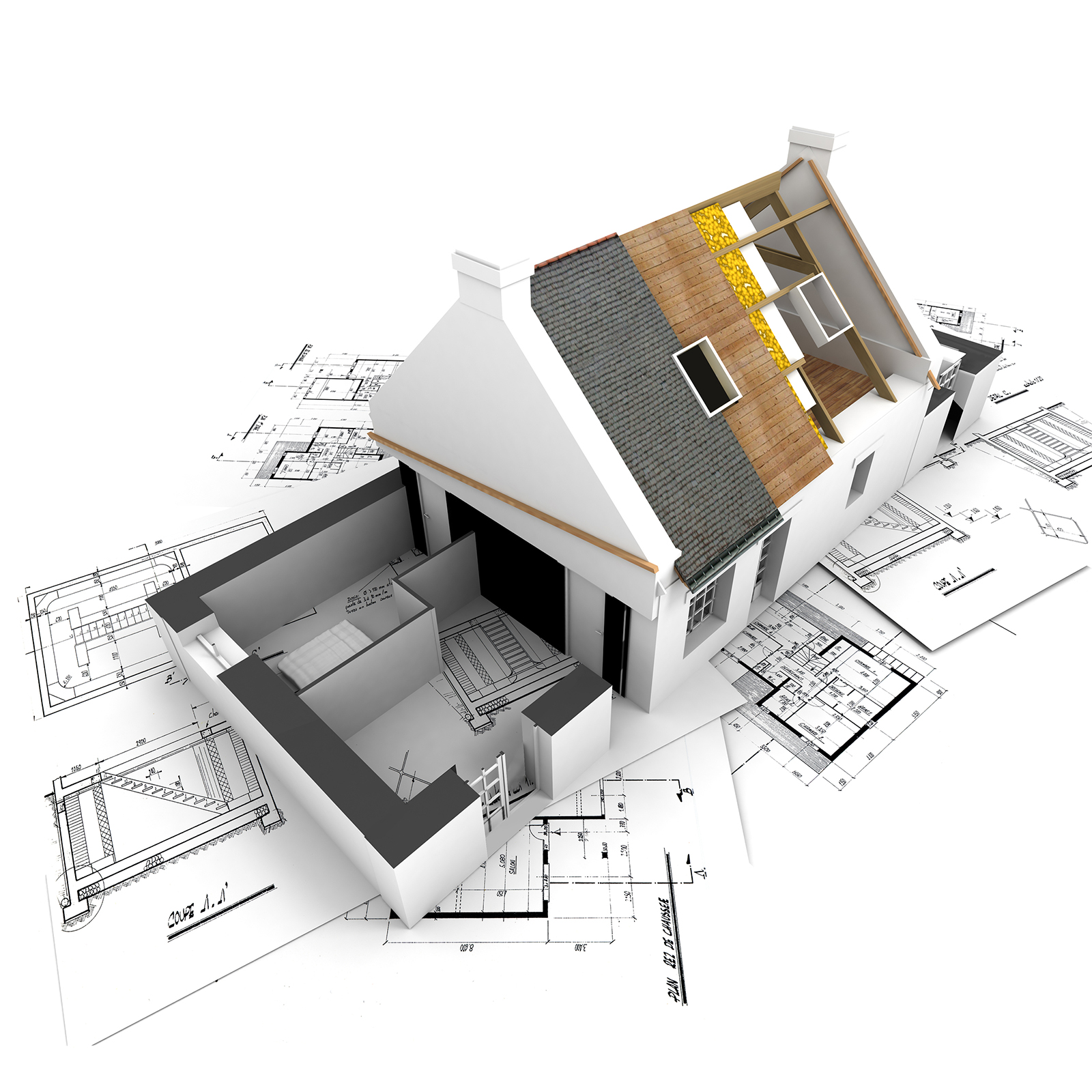 House with exposed roof layers on top of architect blueprints.