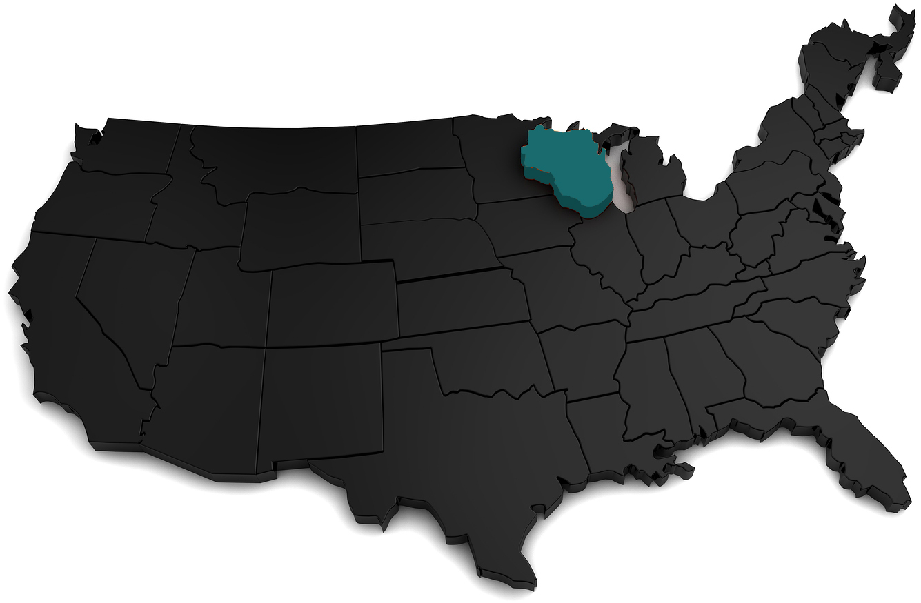 United States of America, 3d black map, with Wisconsin state highlighted in orange. 3d render