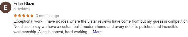 5 star google review for Gryphon Builders