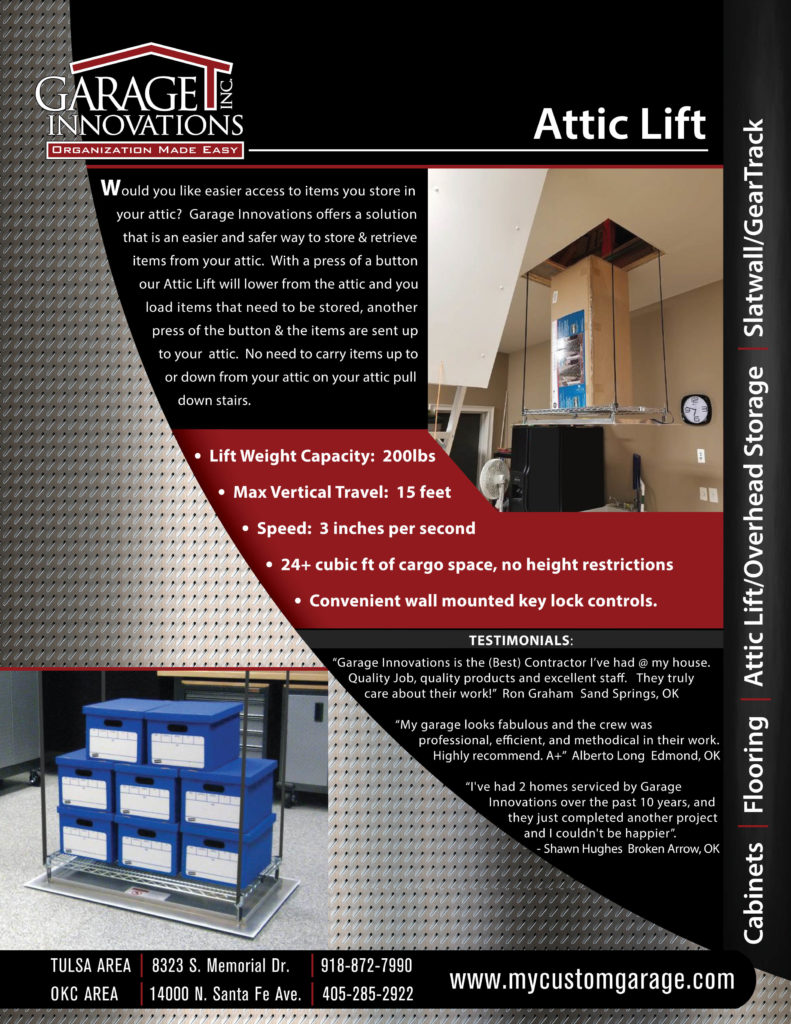 FLYER - GARAGE INNOVATIONS FLYER_Overhead Storage & Attic Lift_B